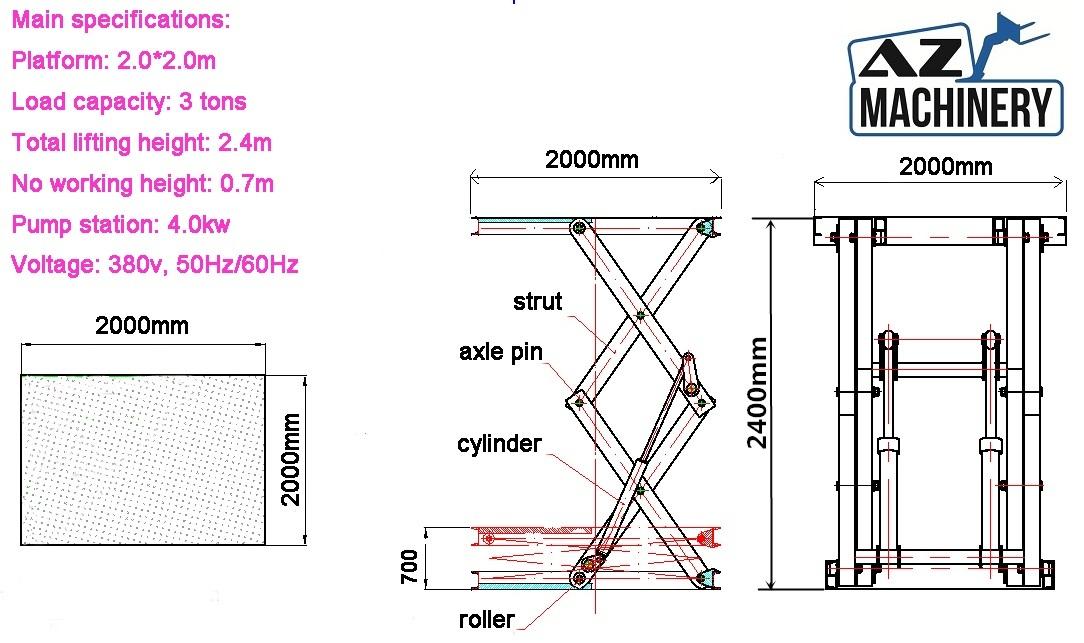 Industrial Load Raising Scissor Lift AZ LIFT - Type: UP 3-2 4